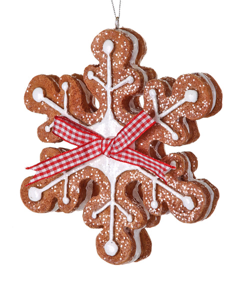 Gingerbread Snowflake Ornament - Resin 5""