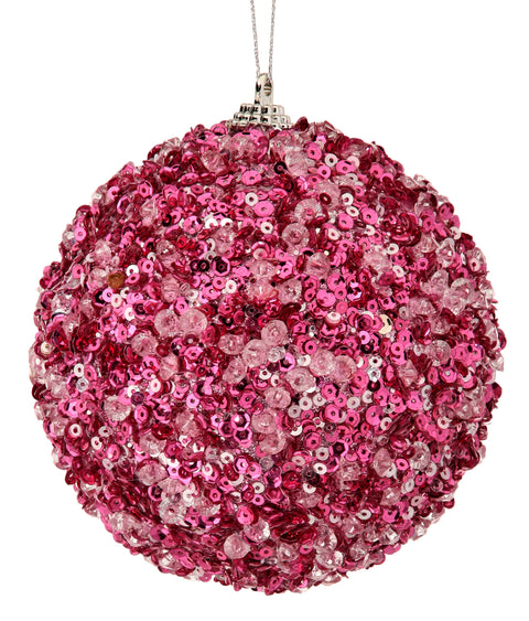 "4"" Ice Sequin Ball Ornament - Pink"