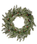 "22"" Snow Cedar Wreath with Cones"
