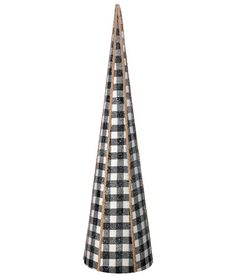 "24"" Fabric Frost Black & White Check Cone Tree"