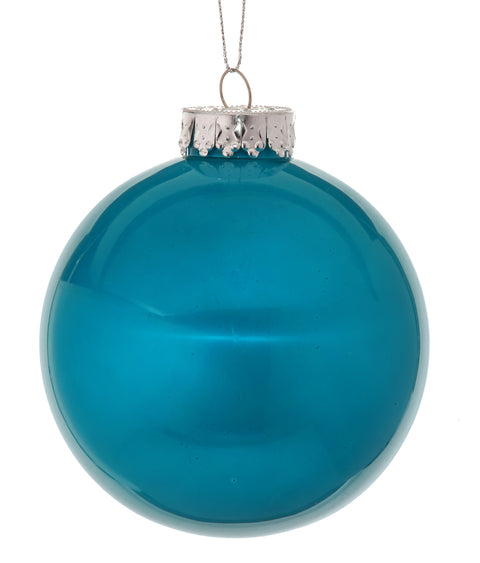 "4"" Glass Look Plastic Ball Ornament - Peacock Blue"