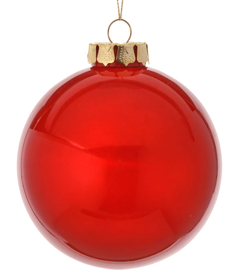 "4"" Glass Look Plastic Ball Ornament - Red"