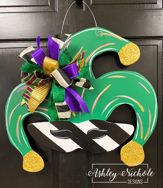 Mardi Gras Mask Door Hanger - Black & White Stripe