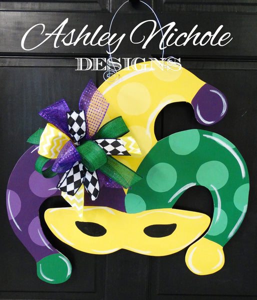 Mardi Gras Mask Door Hanger - POLKA DOT