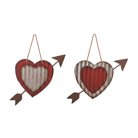 Metal Heart with Arrow Hanging Decor