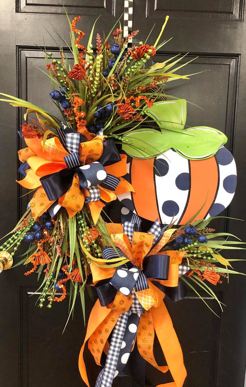 Whimsical Fun Pumpkin NAVY Oval Wreath