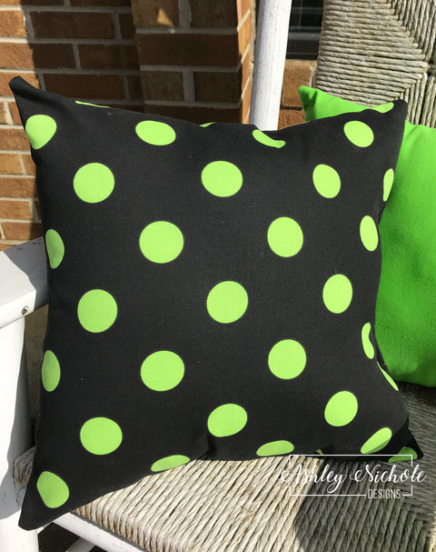 "18"" Outdoor Pillow-Black with Lime Green dots"