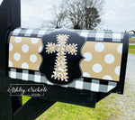 Neutral Swirl Cross-Dots and Buffalo Check Magnetic Mailbox Cover