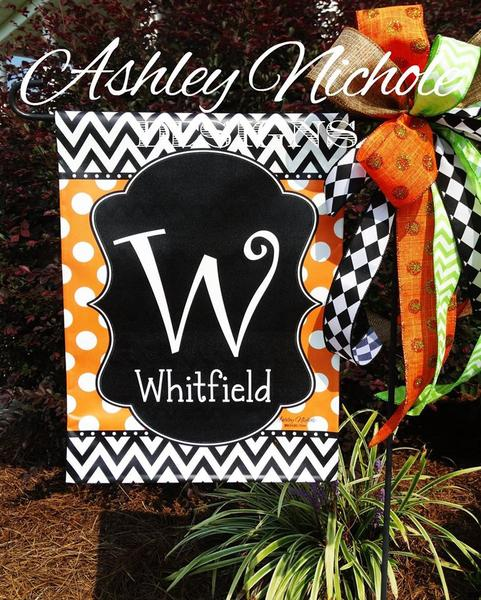 Initial Name Garden Vinyl Flag - Chevron/Dot