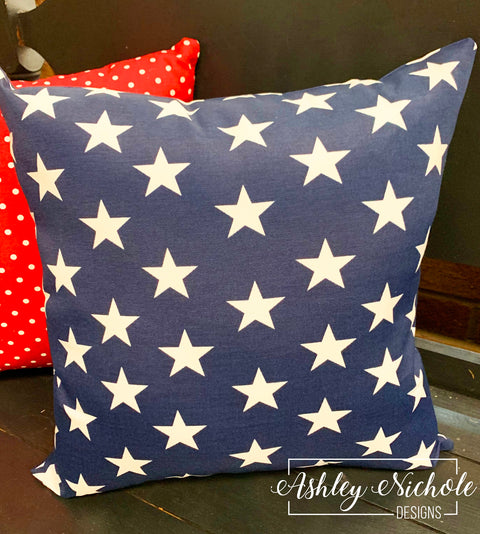 "18"" Outdoor Pillow-Navy with Stars"