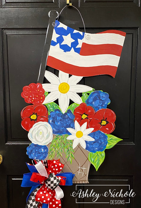 Patriotic Floral Basket with Flag Door Hanger