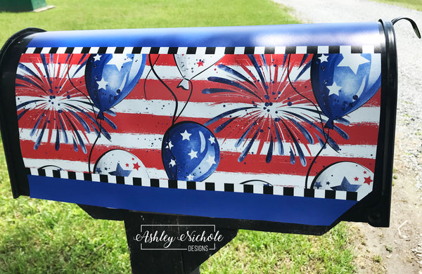 Patriotic Fireworks Mailbox Cover
