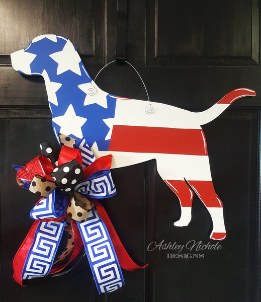 Lab-Patriotic Door Hanger