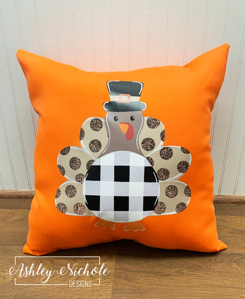 "18"" Custom-Pilgrim with Glitter Dots Pillow - Orange"