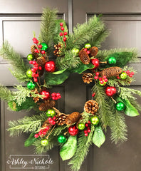 "24"" Pine with ""Red & Green Ornaments Wreath"