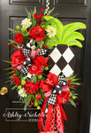 Pineapple Floral Wreath - Abstract Diamond - RED & Green
