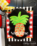 Pineapple - Traditional (Red) Colors Abstract - Garden Vinyl Flag