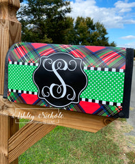 Days of Decor Deals!! Plaid Red and Green Initial Vinyl Mailbox Cover
