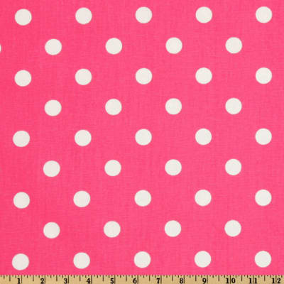 "18"" Outdoor Pillow-Hot Pink with White dots"
