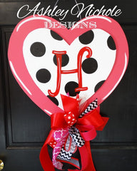 Polka Dot Double Heart Pink Door Hanger