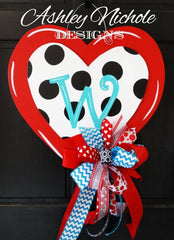 Polka Dot Double Heart Red Door Hanger