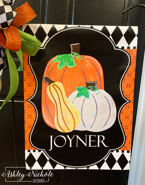 Pumpkins and Gourd Garden Vinyl Flag