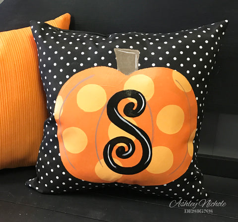 "18"" Custom-Pumpkin Initial Pillow Black/White Dot"
