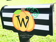 Initial Pumpkin - Black & White Stripe Mailbox Cover