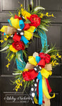 Turquoise Floral with RED Spring-Summer Wreath-Oval