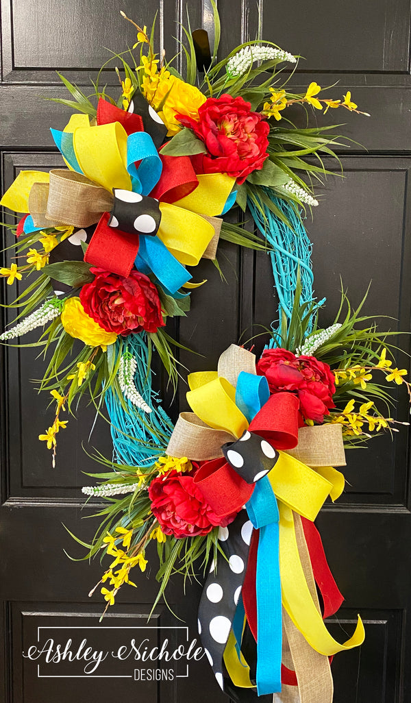 Turquoise Floral With Red Spring Summer Wreath Oval