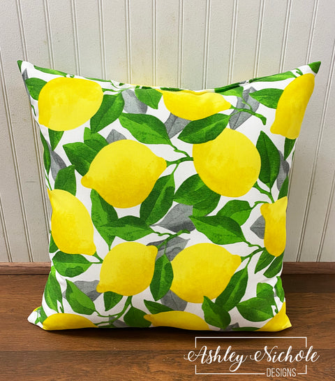 "18"" Custom Citrus Lemon (White ) Pillow"