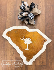 Rustic South Carolina Palm Tree Door Hanger