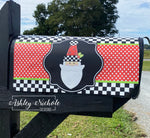 Santa - Checkered with Red Glitter Vinyl Mailbox Cover