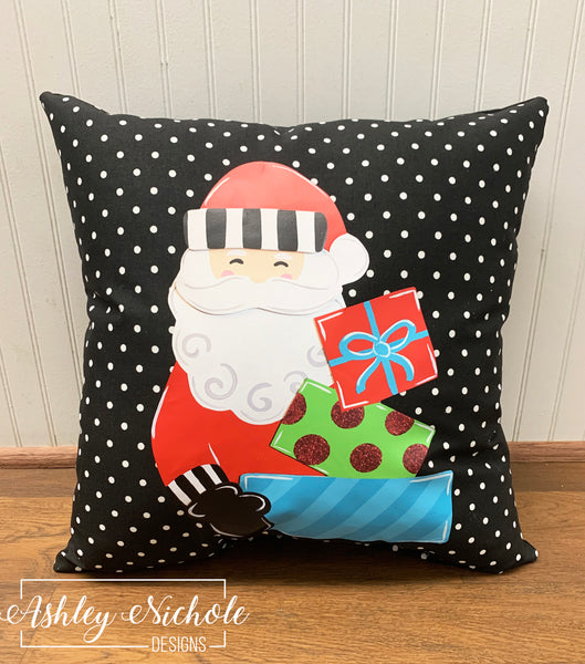 "18"" Custom Santa with Presents Black and White Dot Pillow"