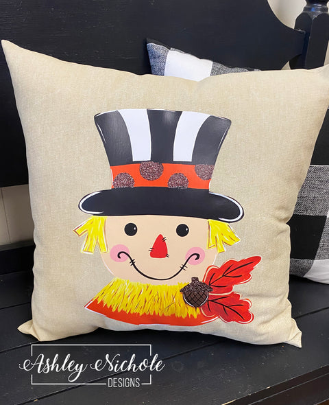 "18"" Scarecrow-Black White with Acorn  Pillow"