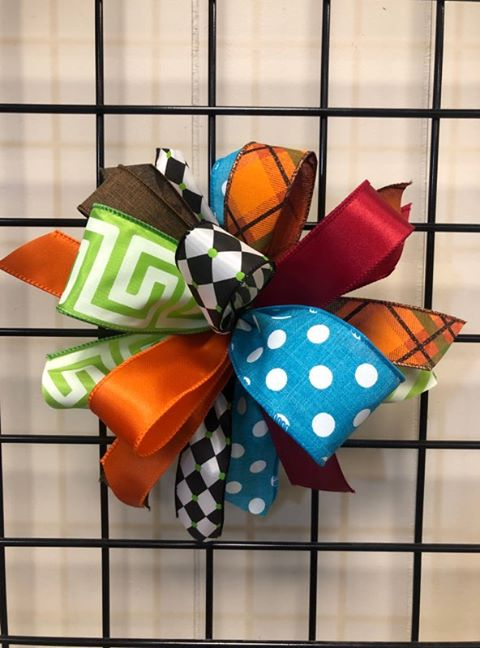 Fall Colorful Bow - Small Puff