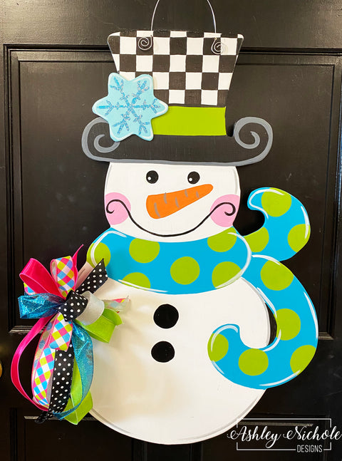 Snowman - Checkered BOY Version Door Hanger