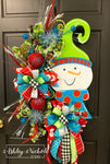 Snowman-Colorful-Red & Blue-Wreath