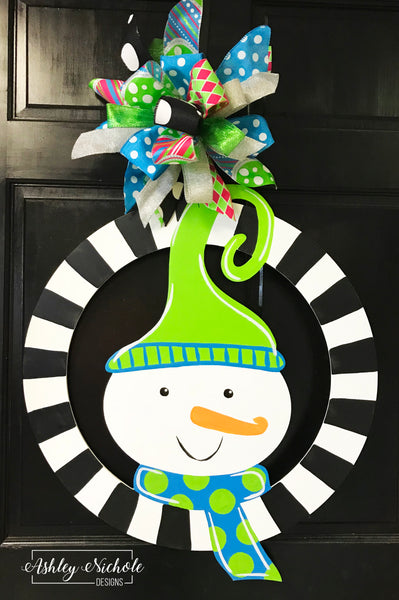 Snowman-Whimsical and Colorful Door Hanger