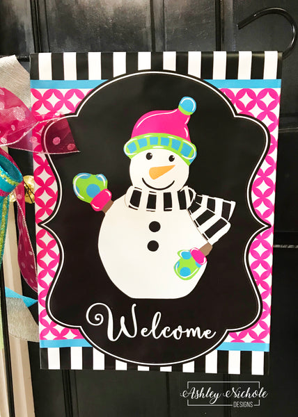 Snowman Full Body-Colorful Vinyl Garden Flag