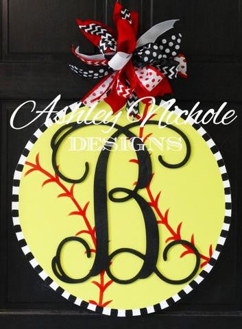 Softball with Monogram Door Hanger