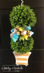 Spring Topiary - Double Ball Striped - Turquoise & Neutral Door Hanger