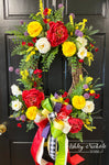 Spring Bouquet Oval Floral Wreath - RED & YELLOW