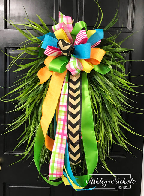 "Spring-Summer Grass Wreath-24"" Oval"