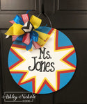 Superhero Inspired Teacher Name Door Hanger