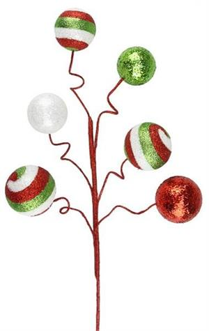 "20"" Swirl Glitter Ball Pick ~ Red, Lime, Green, White"