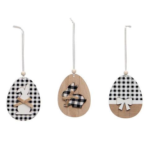 Egg Ornament with Black and White Bunnies 3 Styles