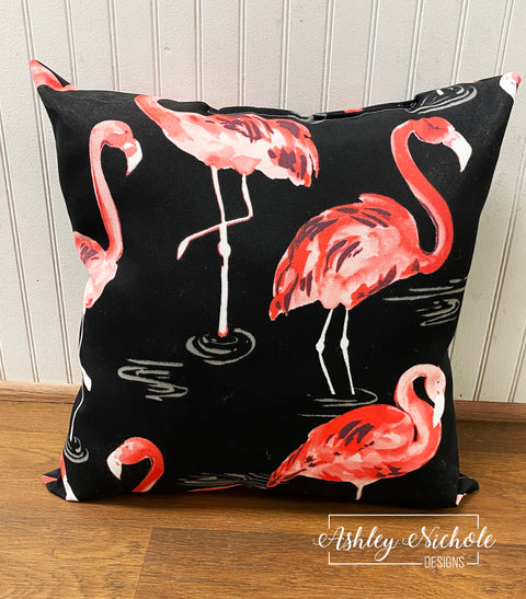 "18"" Outdoor Pillow - Flamingos on Black"