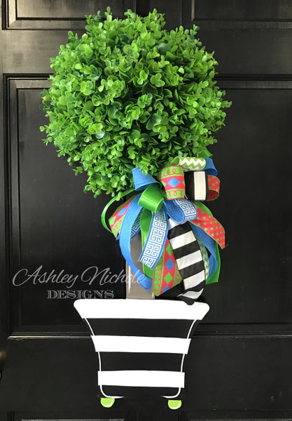 Spring Topiary - Single Ball Striped - Door Hanger