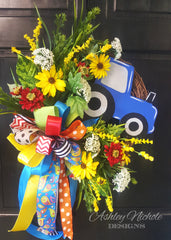 Tractor and Floral Grass Wreath - 18""